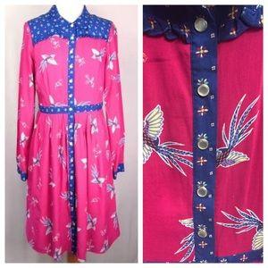 ModCloth Birds of Paradise Western Shirt Dress XL